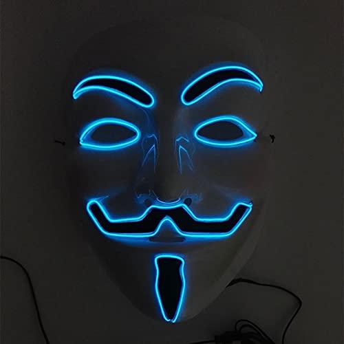 YHSW Fiesta de Maquillaje,mscara Brillante Mscara LED V Vendetta EL Wire Light Up para Navidad Disfraz de Halloween Fiesta de Cosplay