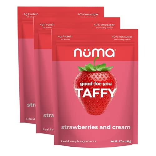 Healthy Strawberries and Cream Soft Candy - Low Sugar, Low Calorie, All Natural Chewy Snack, 3g Protein per Serving, Gluten Free - 3 Bags with 24 Individually Wrapped Chews Total