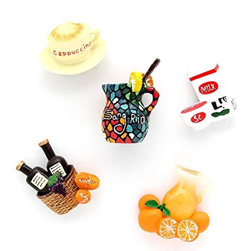 siqiwl imanes de Nevera 5 Piezas Taza De Jugo De Mosaico De Palo De Nevera Magnética Taza De Café De Leche Botella De Jugo De Naranja Cesta De Vino Tinto Imanes De Nevera 3D Refrigerador