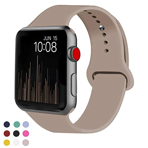 VATI Sport Band Compatible for Apple Watch Band 42mm 44mm, Soft Silicone Sport Strap Replacement Bands Compatible with 2019 Apple Watch Series 5, iWatch 4/3/2/1, 42MM 44MM M/L (Walnut)