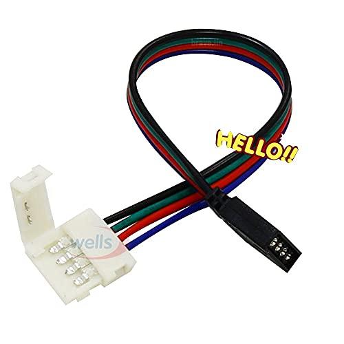 YINGGEXU 5 unids Sin Soldadura 4pin Cable PCB Tablero de Cable a 4 Pin Female Adapter 10mm 5050 RGB LED Tira Conectores de luz