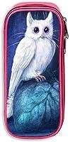 Cat Owl Art Fantasy ツインペンケース シンプルな モダンな すっきりとした ポーチ かわいい 鉛筆ケース 筆箱 文房具 ポーチ 女性の化粧品ポーチ 子供ブラシ 大容量 収納 バッグ