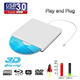 External Blu Ray DVD Drive Reader, Portable Ultra Slim USB 3.0 Blu Ray BD Reader,DVD CD Burner Player Writer Reader Disk for Mac OS, Windows 7/8/10,Linxus, Laptop (Silver.)