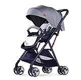 MSSugar Cochecitos Cochecito para bebé Cochecito de Viaje Cuna para bebé Cochecito de bebé portátil Ultraligero Puede Sentarse Reclinable Amortiguador Cochecito Plegable,Gray