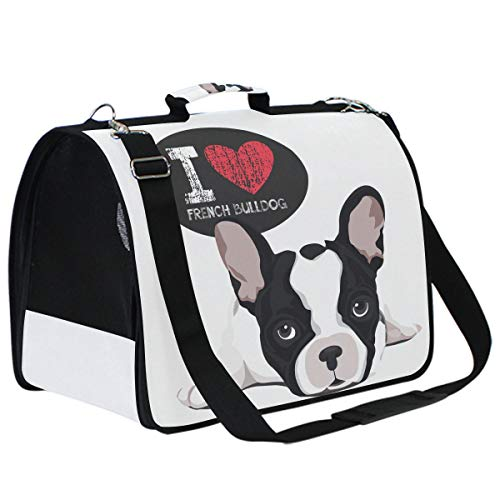 Cat Carriers Dog Carrier Pet Carrier - I Love French Bulldog Airline Approved Soft Sided Pet Travel Ventilated Pet Carrier