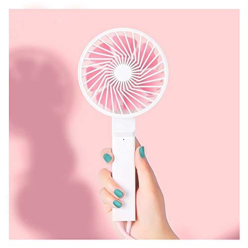 abanicos de mano Mini Ventilador plegable portátil Usb Diseño de cordón de mano Ventilador eléctrico Exterior 3 Ventiladores de velocidad de engranaje ventilador de batería portátil ( Color : Pink )