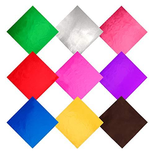 FT-SHOP Verpackungen für Süßigkeiten 900 Stück 9 Farben Alufolie Verpackung Aluminium Foil Papier für DIY Süßigkeiten/Schokolade, Dekoration 9,5 x 9,5 cm