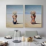 RTAGBFND Carteles de arte de pared nórdicos Impresiones Bikini Mujeres Pintura de lienzo Seaside Beach Girls Pintura al óleo impresa para la decoración de la sala de estar -50x70cmx2 sin marco