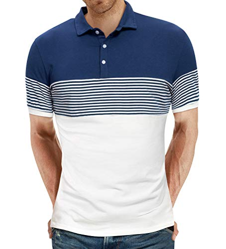 YTD Men's Short Sleeve Polo Shirts Casual Slim Fit Contrast Color Stitching Stripe Cotton Shirts Large White
