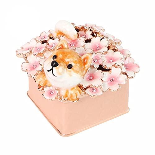 SMFN Cajas de Joyas de linket de Cristal Perro Animal Figurine Joyería Holder Caja para Mamá Mujeres Día de San Valentín Aniversario de Navidad (Color : A)