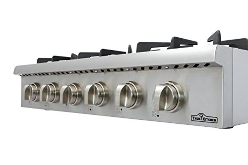 Thorkitchen Pro-Style Gas Rangetop with 6 Sealed Burners 36 - Inch, Stainless Steel HRT3618U 5 2 Year Parts and Labor CSA Certified 304 stainless steel