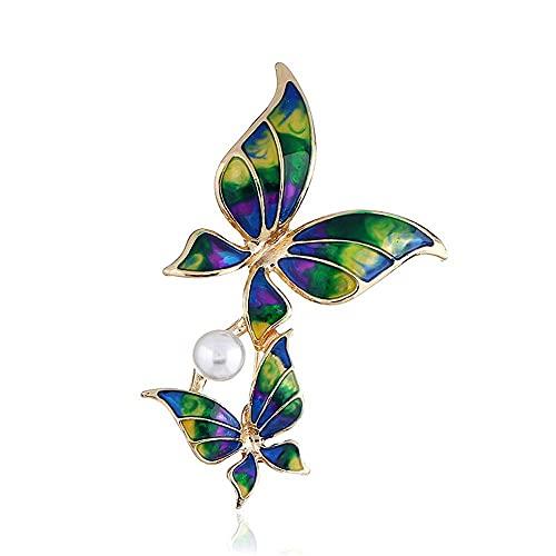 Elegante broche de mariposa con perlas sintéticas, joyería de fiesta para mujer, regalo, pedrería de colores, hermoso broche de insectos para mujeres, niñas, damas (color: verde)
