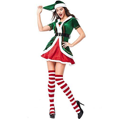 hengGuKeJiYo Adulto Alegre Santa Helper Navidad Elf Mujer Disfraz navideño Diversión en tu Fiesta de Navidad Temporada de Festival Vístete con calcetín