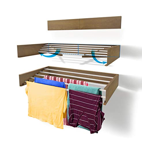 Step Up Laundry Drying Rack, Wall Mounted, Retractable Clothes Drying Rack, 40lbs Capacity, 11.6 Linear Ft, with Wall Template and Long Drill Bit (Wood-Look - 28')