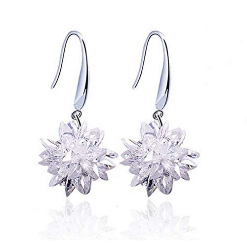 GoodLuck Pendientes de Plata de Ley 925 para Mujer Nueva, Piedras exquisitas, Hermosas Flores, joyería de Princesa Encantadora