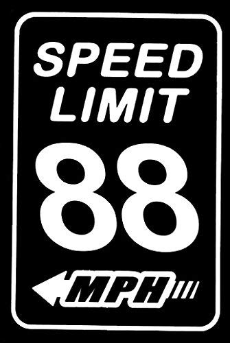 Makarios LLC Speed Limit 88 BTTF Coches Camiones Vans Paredes Laptop MKR | Blanco | 5.5 x 3.75 | MKR795