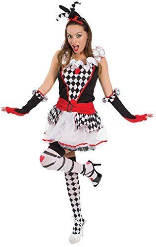 Dames Harlequin Jester Clown Shorts Fancy Dress Kostuum Large