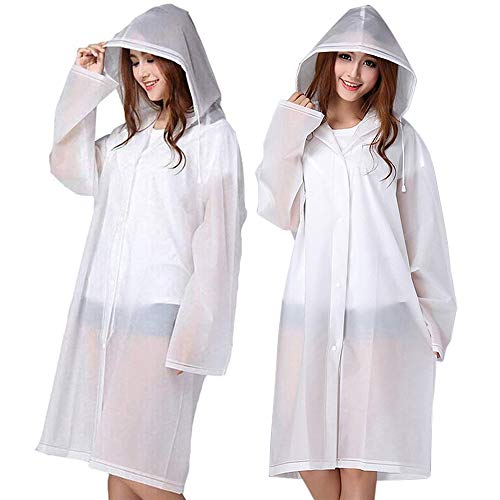 Cosowe Rain Ponchos for Adults, Family Pack Raincoats for Women Men with Drawstring Hoods and Sleeves, Waterproof Reusable Rain Jacket for Emergency, Disney, Sports, Outdoors (A-White)