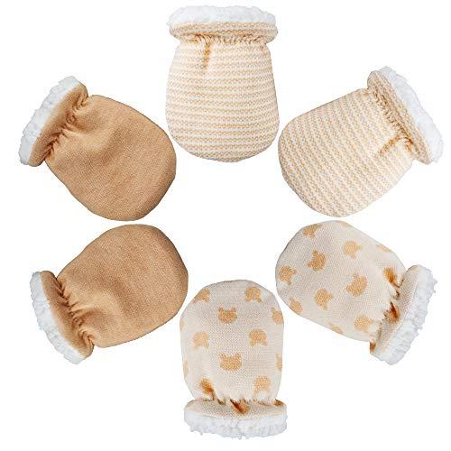 3 Paires Moufles pour Bébés Gants de Mitaines de Bébé en Coton Garçons Filles d hiver Gants Chaud Nouveau-né Mitaines pour Âge 0-8 Mois