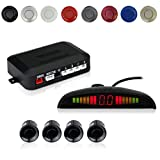 EKYLIN Car Auto Vehicle Reverse Backup Radar System with 4 Parking Sensors Distance