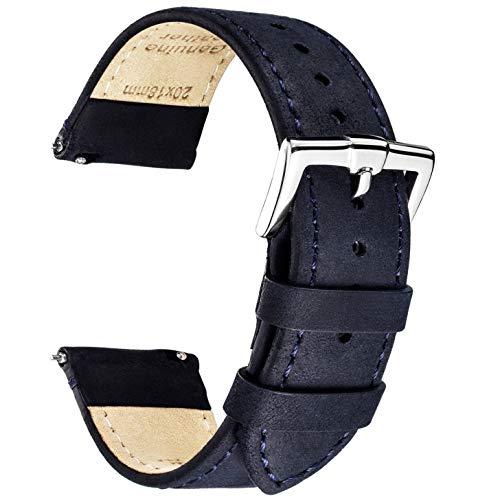 B&E Schnellverschluß Uhrenarmbänder Lite Vintage Leder Armband Ersatband für Herren Damen - Watch Bands Strap für traditionelle & intelligente Uhren