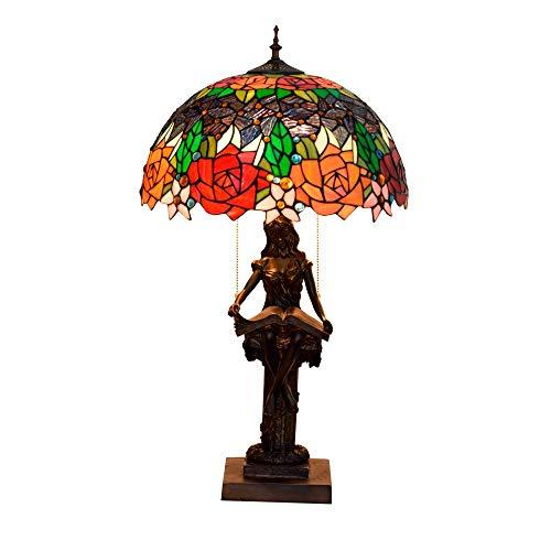 Blivuself 40CM del vitral de Tiffany Iglesia lámpara de mesa de cristal Sala Comedor lámpara de cabecera de América