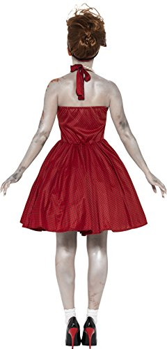 SMIFFYS Smiffy's 44369S - Costume Rosso Rockabilly di Zombie 50'S Dress con Latex Rib & Fascia, S