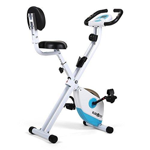 Klarfit X-Bike 700 Cyclette pieghevole per home fitness (display LCD per allenamento, misurazione pulsazioni, 8 livelli di resistenza regolabili, sedile ergonomico) - bianco / turchese