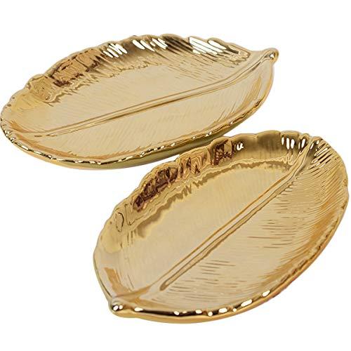 TOPBATHY 2 unids Forma de Hoja de Oro Anillo Decorativo Plato Plato Titular de cerámica Bandeja de Plato Regalo de cumpleaños