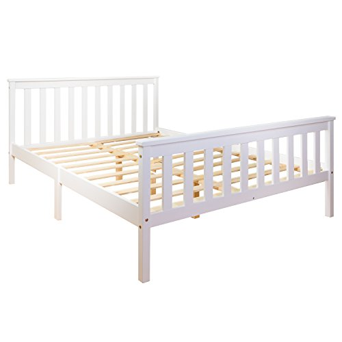 Home Treats 4ft 6 Double Bed In White Solid Wooden Frame Perfect For Adults Kids Teenagers Fitted Slats Strong Support Legs With Smooth Finish (Double)