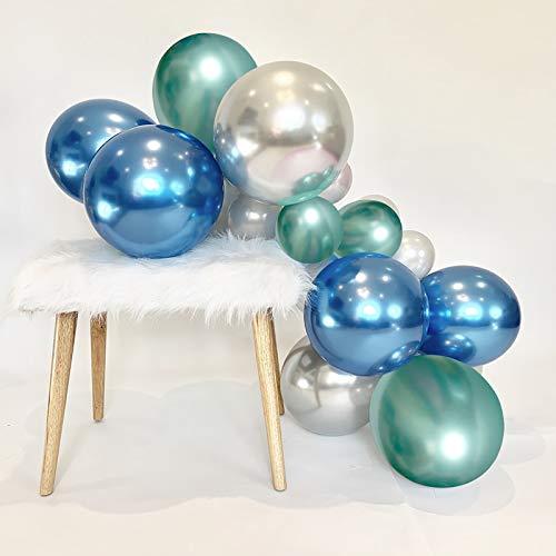 HiQuaty Globos de Azules Verdes Plateados, 50 Piezas Globos Metálicos de 12 Pulgadas Globos de Fiesta para Despedida de Soltera Decoración de Fiesta de Cumpleaños de Boda