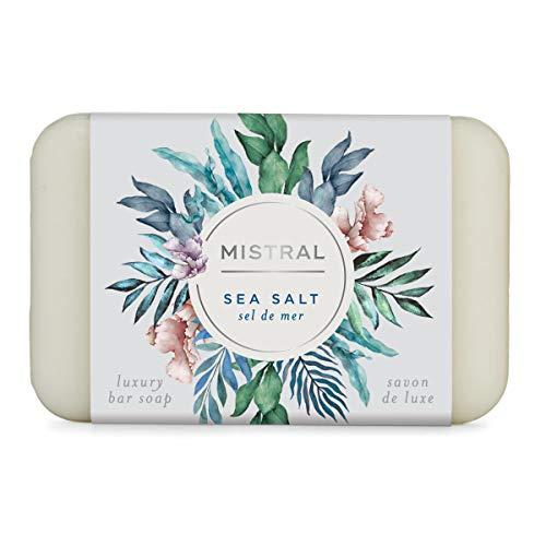 Mistral Triple Milled Bar Soap Organic Olive Oil and Shea Butter, Sea Salt, Made in France, 7 Oz