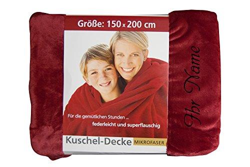 Kuscheldecke mit Name, 150 x 200 cm, Farbe rot, Stickfarbe schwarz, Wunschtext individuell eingestickt; Decke, Wohndecke, Tagesdecke, Übermittlung Wunschtext Button Jetzt anpassen ->