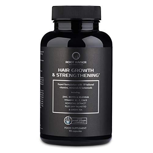 RootRaiser Vitamine gegen Haarausfall - (90 Kapseln) Haarwachstum beschleunigen für Männer (Biotin, Vitamin C D E, Eisen, Zink, Selen, Grüner Tee, Schachtelhalm, Sah Palmetto)