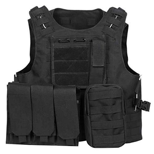 Militac - Chaleco táctico Delta,perfecto para airsoft, asalto, combate; incluye bolsillos portacargadores, negro