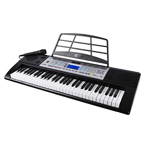 Mugig MLS-939 Piano Electrico de 61 Teclas con Pantalla LCD multifunción, micrófono y soporte para Atril, 500 timbres, 300 ritmos, 40 repertorios de demostración