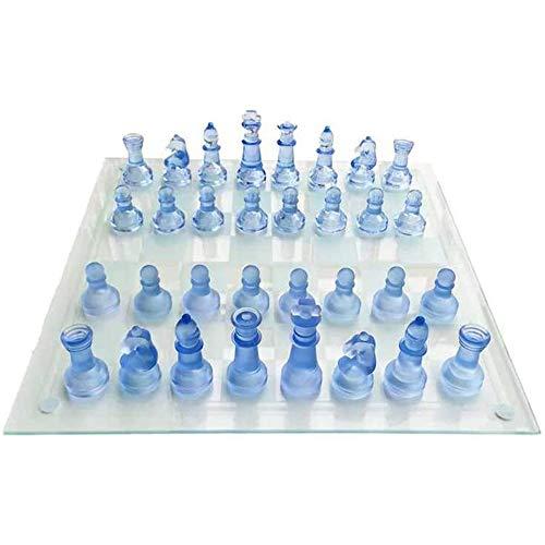 HARTI Juego De Ajedrez De Cristal K9, Exquisito Cristal Transparente Azul Ajedrez 32 Piezas, Juego De Mesa Especial para Amigos Juegos De Decoración De Juegos para Niños Regalo