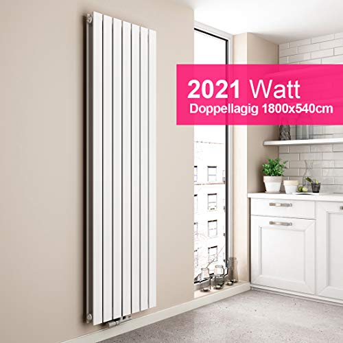 EMKE Vertikal Heizkörper Design Paneelheizkörper 1800x540mm Weiß flach Doppellagig Mittelanschluss Heizung, 2021W