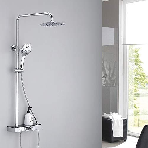 HOMELODY Thermostat Duschsystem Duschset mit Regal Regendusche Duscharmatur chrom inkl. Handbrause Überkopfbrause Brausestange