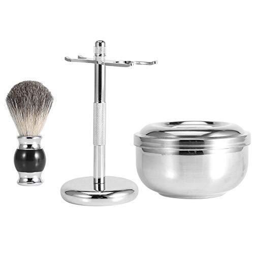 Kit de rasage pour hommes, support d'outils de rasage professionnel pour hommes + brosse à cheveux faux blaireau + kit de bol en alliage de savon