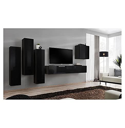 ASM Ensemble TV Mural - 5 éléments - Noir