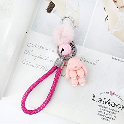 jsobh Keychains Cute Resin Rabbit Fur Ball Cartoon Rabbit Keychains For Women Key Chain Car Key Ring Bag Pendant Fashion Jewelry Cartoons (Color : Pink)
