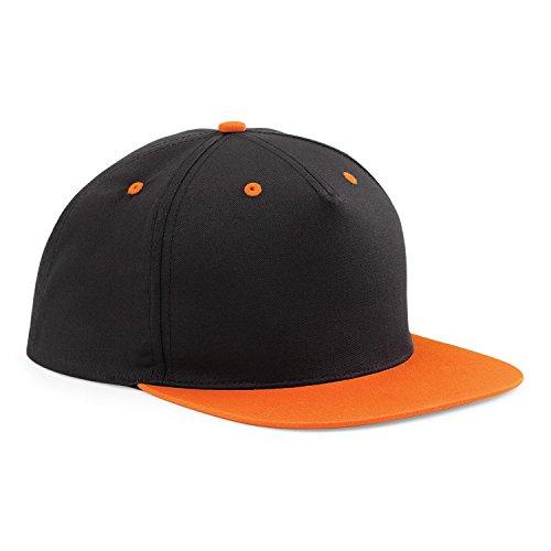 Beechfield - Gorra/Visera 2 Colores 5 Paneles Modelo Snapback Unisex Hombre/Mujer (Talla Única) (Negro/Naranja)