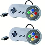 JTEEY Replacement Wired Controller for New Super Nintendo NES/SNES Classic Edition Mini 2017, Classic Game Controller Joystick Gamepad (2 Pack)