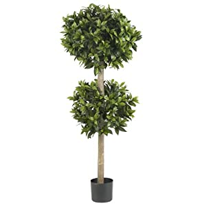 Nearly Natural 5311 Sweet Bay Double Ball Topiary Silk Tree, 57-Inch, Green