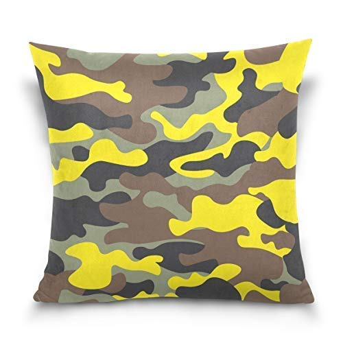 Yuanmeiju Throw Pillow Cover 18x18 inch, Camouflage Yellow Camo Grey Decorative Pillow Cases Cushion Cover for Couch Sofa Bed Home