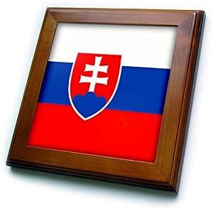 3dRose ft_31578_1 Slovakia Flag-Framed Tile, 8 by 8-Inch