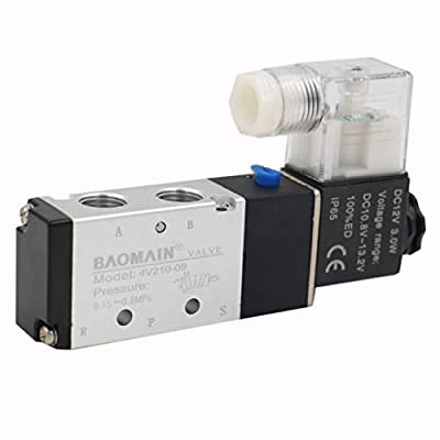 "Baomain Pneumatic Air Control Solenoid Valve 4V210-08 DC 12V 5 Way 2 Position PT1/4"" Internally Piloted Acting Type Single Electrical Control by AirTac"
