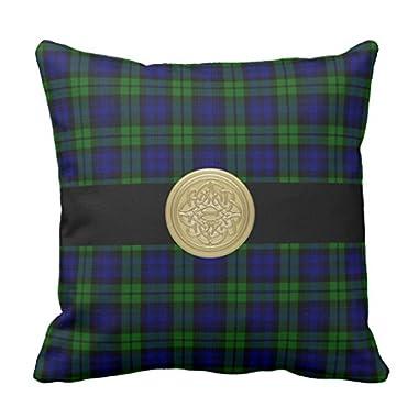 Zazzle Black Watch Tartan Plaid Pillow with Celtic Knot 16  x 16