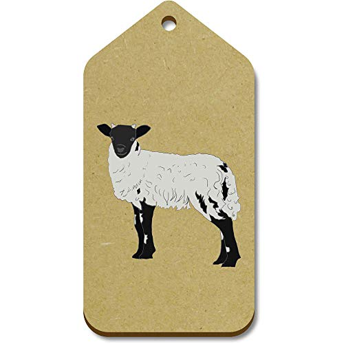 Azeeda 10 x Large 'Black & White Sheep' Wooden Gift Tags (TG00096832)